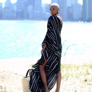 Halston Heritage Dresses - Asymmetrical Striped Dress